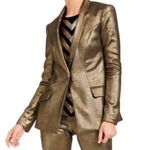 INC Metallic Gold Blazer 1 Button New